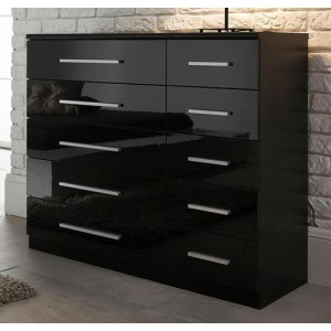 Carola Chest Of Drawers In Black High Gloss With 5+5 Drawers