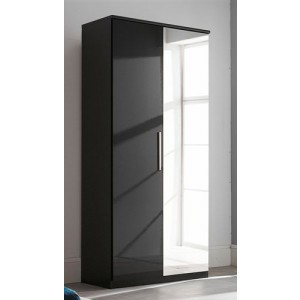 Carola Mirrored Wardrobe In Black High Gloss With 1 Door