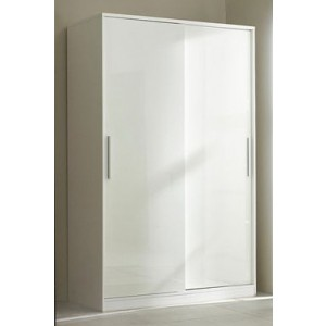 Carola Sliding Wardrobe In White High Gloss With 2 Doors