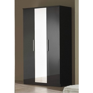 Carola Mirrored Wardrobe In Black High Gloss With 3 Doors