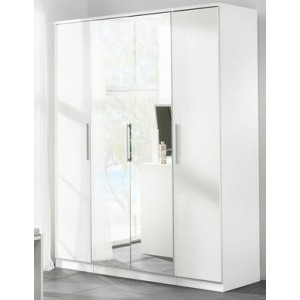 Carola Mirrored Wardrobe In White High Gloss With 4 Doors