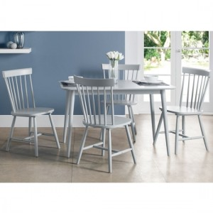 Torino Wooden Dining Table In Lunar Grey With 4 Chairs
