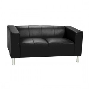 Toscana PU Leather 2 Seater Sofa In Black