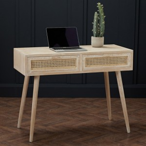 Toulouse Wooden 2 Drawers Computer Desk In Washed Oak
