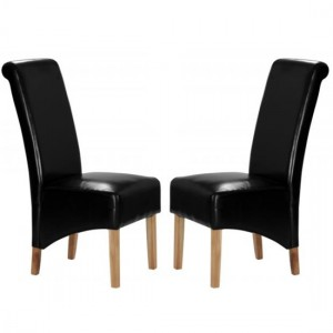 Trafalgar Black Faux Leather Dining Chairs In Pair With Rubberwood Legs