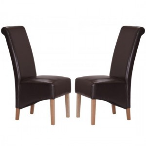 Trafalgar Brown Faux Leather Dining Chairs In Pair With Rubberwood Legs