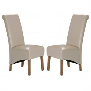 Trafalgar Cream Faux Leather Dining Chairs In Pair With Rubberwood Legs