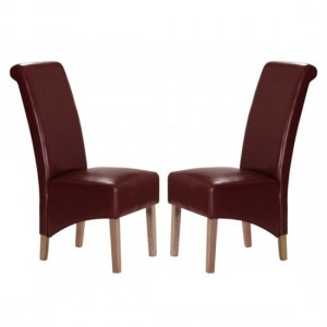 Trafalgar Red Faux Leather Dining Chairs In Pair With Rubberwood Legs