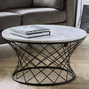 Trevi White Marble Coffee Table With Black Metal Base