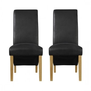 Treviso Black Faux Leather Dining Chairs In Pair