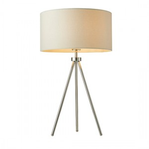 Tri Ivory Fabric Table Lamp In Chrome