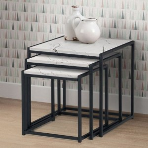 Tribeca Marble Nest Of 3 Tables In White