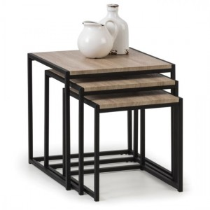 Tribeca Wooden Nest Of Tables In Sonoma Oak Effect