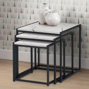 Tribeca Wooden Nest Of Tables In White Marble Effect
