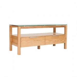 Tribeca Wooden TV Stand In White Oak