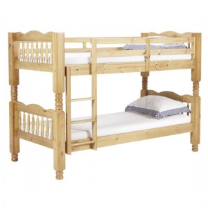 Trieste Chunky Wooden Single Bunk Bed In Pine