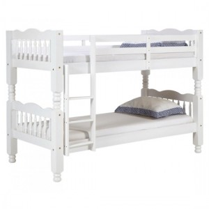 Trieste Chunky Wooden Single Bunk Bed In Whitewash