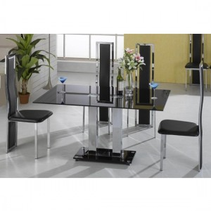 Trinity Black Glass Dining Set With Chrome Legs And 6 Trinity Chairs