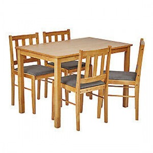 Trinity Wooden Dining Set In Oak With 4 Chairs
