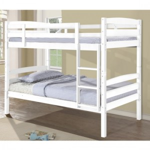 Tripoli Wooden Single Bunk Bed In White
