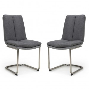 Triton Linen Effect Dark Grey Dining Chair In A Pair