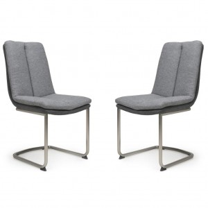 Triton Linen Effect Light Grey Dining Chair In A Pair