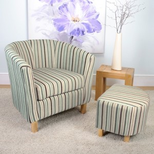 Tub Fabric Bedroom Chair And Stool In Chenille Stripe Duck Egg
