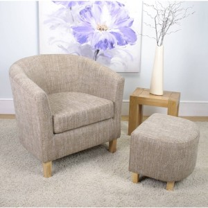 Tub Fabric Bedroom Chair And Stool In Tweed Oatmeal