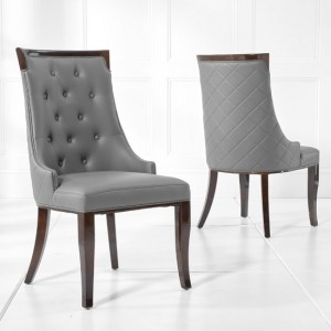 Adira Dining Chair In Grey PU And Dark High Gloss Legs In A Pair