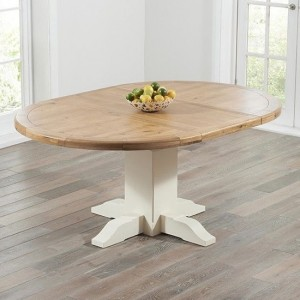 Turin Extending Wooden Dining Table In Oak And Cream