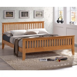 Turin Wooden Double Bed In Honey Oak