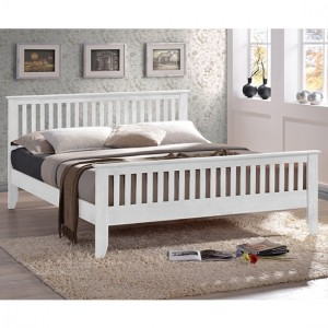 Turin Wooden Double Bed In White