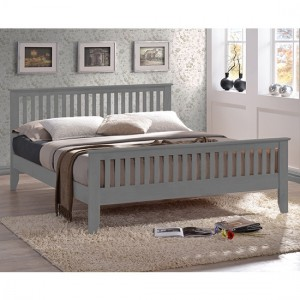 Turin Wooden King Size Bed In Grey