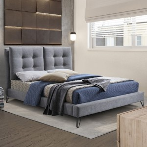 Tuscany Fabric Upholstered Double Bed In Light Grey