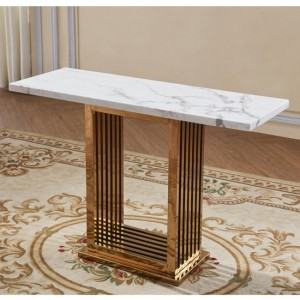 Tuscany Marble Console Table With Rose Gold Base