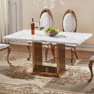 Tuscany Natural Stone Marble Dining Table With Stainless Steel Base