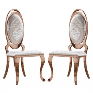 Tuscany White Fabric Dining Chairs In Pair With Rose Gold Legs