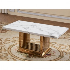 Tuscany White Marble Coffee Table With Rose Gold Stainless Steel Base