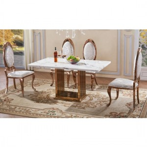 Tuscany White Marble Dining Set With 6 Chairs