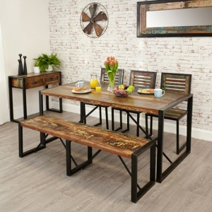 Urban Chic Large Wooden Dining Table With 2 Benches