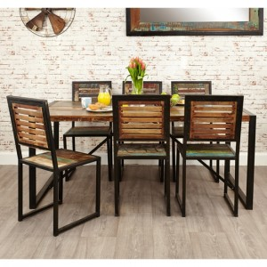 Urban Chic Large Wooden Dining Table With 6 Chairs