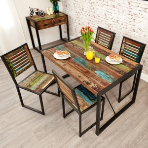 Urban Chic Small Wooden Dining Table With 4 Chairs