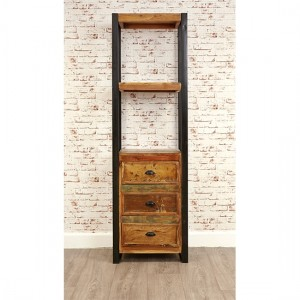 Urban Chic Wooden Alcove Bookcase With 2 Shelves And 3 Drawers