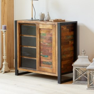 Urban Chic Wooden Home Storage Cabinet With 1 Door And 4 Drawers