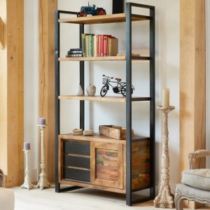 Urban Chic Wooden Large Open Bookcase With 3 Shelves And 3 Drawers