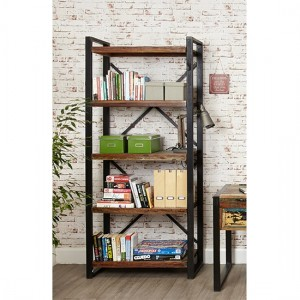 Urban Chic Wooden Large Open Bookcase With 5 Shelves