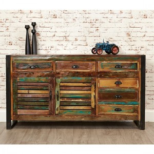 Urban Chic Wooden Large Sideboard With 2 Doors 6 Drawers