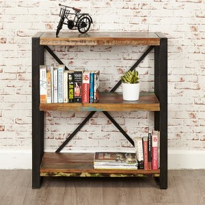 Urban Chic Wooden Low Bookcase With 3 Shelves