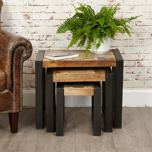 Urban Chic Wooden Nest Of 3 Tables
