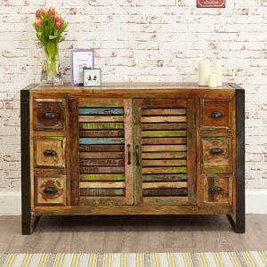 Urban Chic Wooden Sideboard With 2 Doors And 6 Drawers